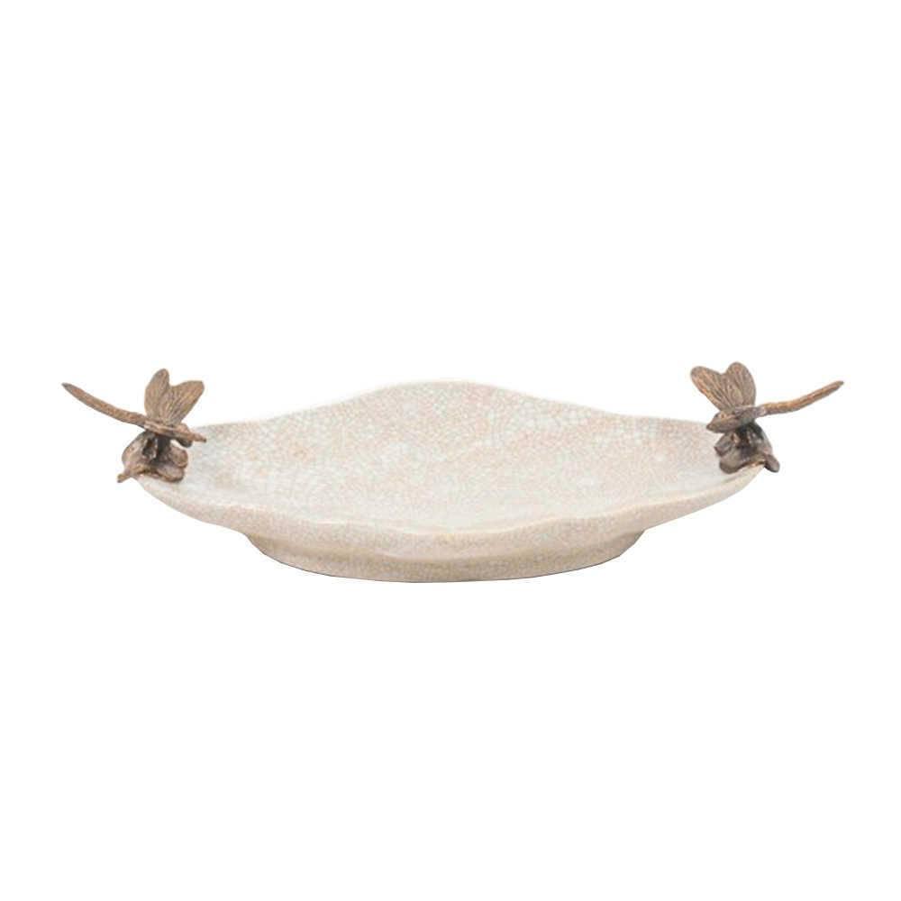 Centro de Mesa Amur em Porcelana com Libélulas na Borda - 24x13 cm