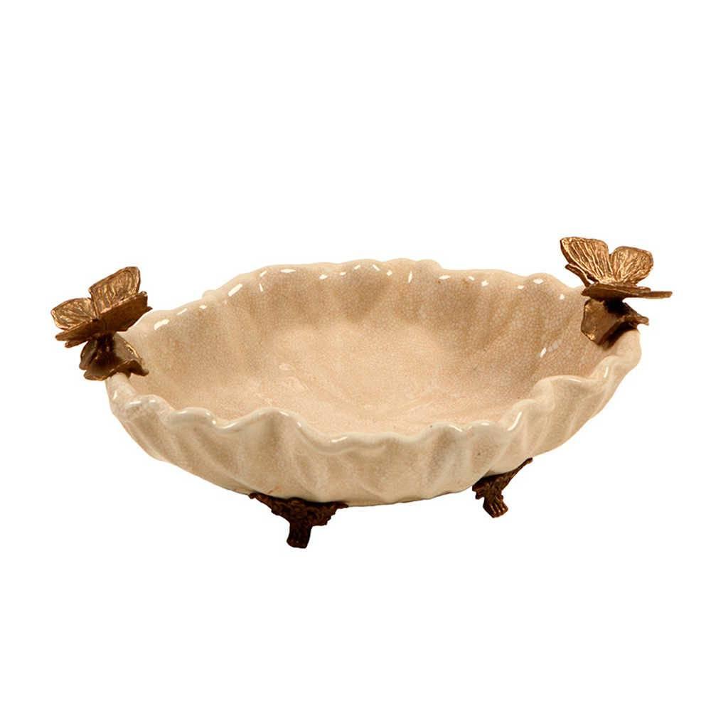 Centro de Mesa Borboletas Bege e Bonze em Porcelana - 26x17 cm