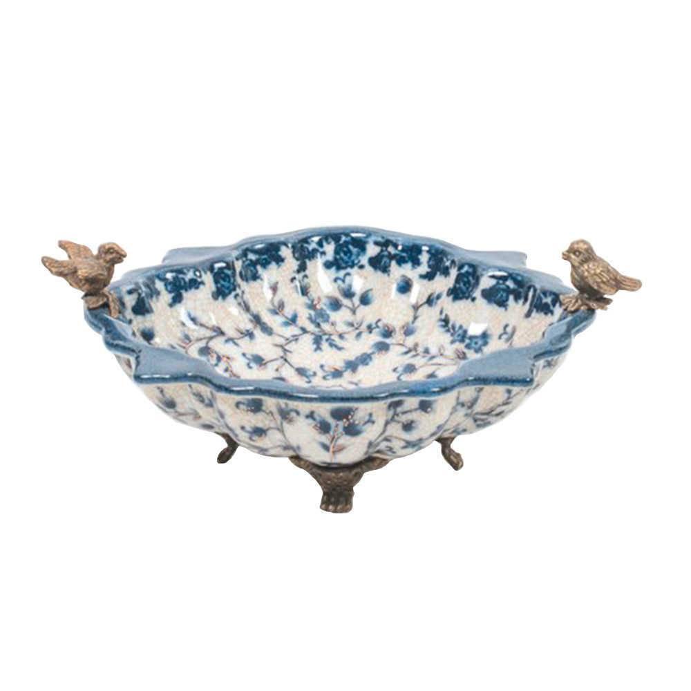 Centro de Mesa Cambuí em Porcelana com Pássaros na Borda - 22x19 cm