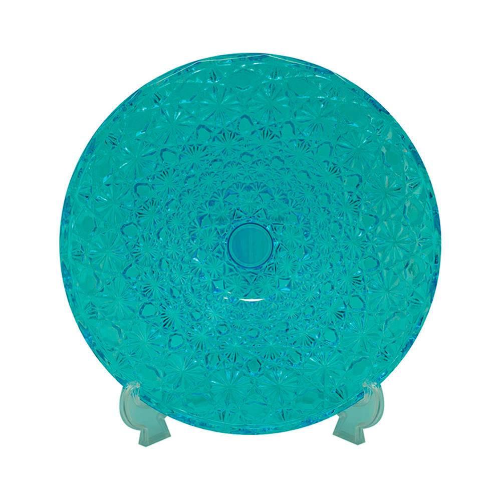 Centro de Mesa Craquele Azul em Vidro - Urban - 33x6 cm