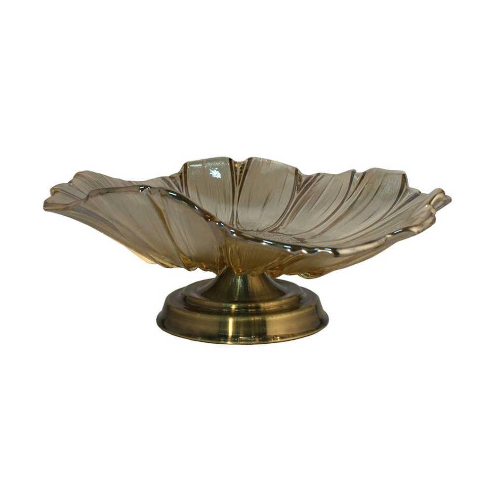 Centro de Mesa Magna Bronze em Vidro e Metal - 39x15 cm
