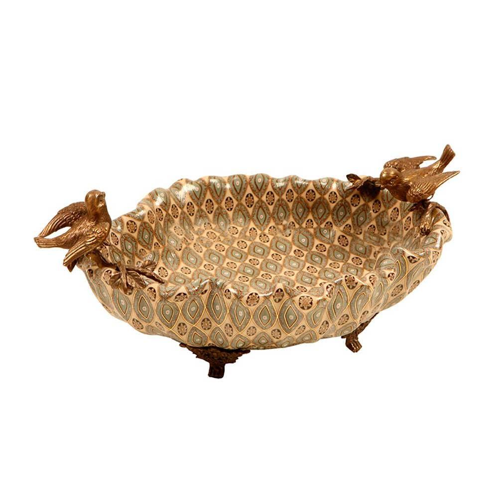 Centro de Mesa Passarinhos Bronze em Porcelana - 26x18 cm