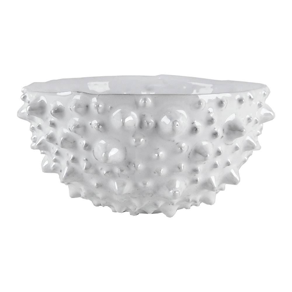 Centro de Mesa Pearl Branco em Cerâmica - 21x10,5 cm