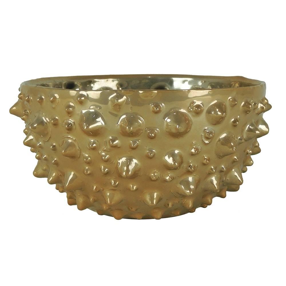 Centro de Mesa Pearl Dourado em Cerâmica - 21x10,5 cm