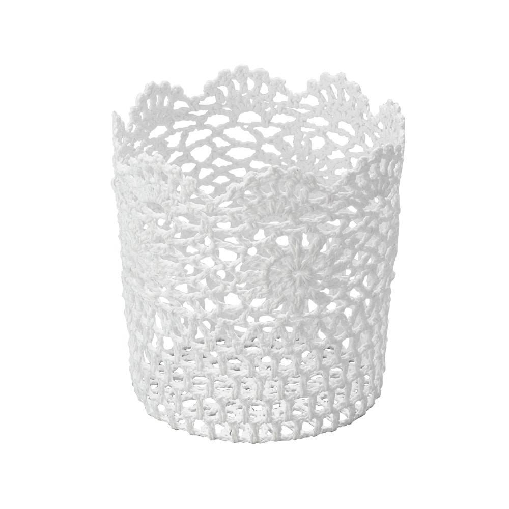 Cesta em Crochê de Algodão Branca Resinada - Lyor Classic - 18x17 cm