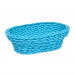 Cesta Oval Azul Pequeno para Pães em Vime Pintado - 26x24 cm