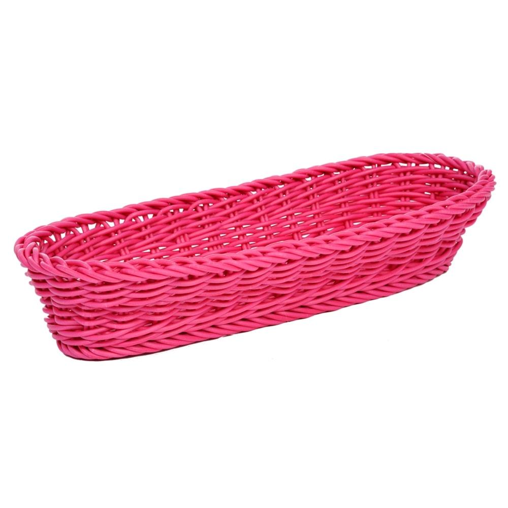 Cesta Oval Rosa Pequena para Pães em Vime Pintado - 38x15 cm