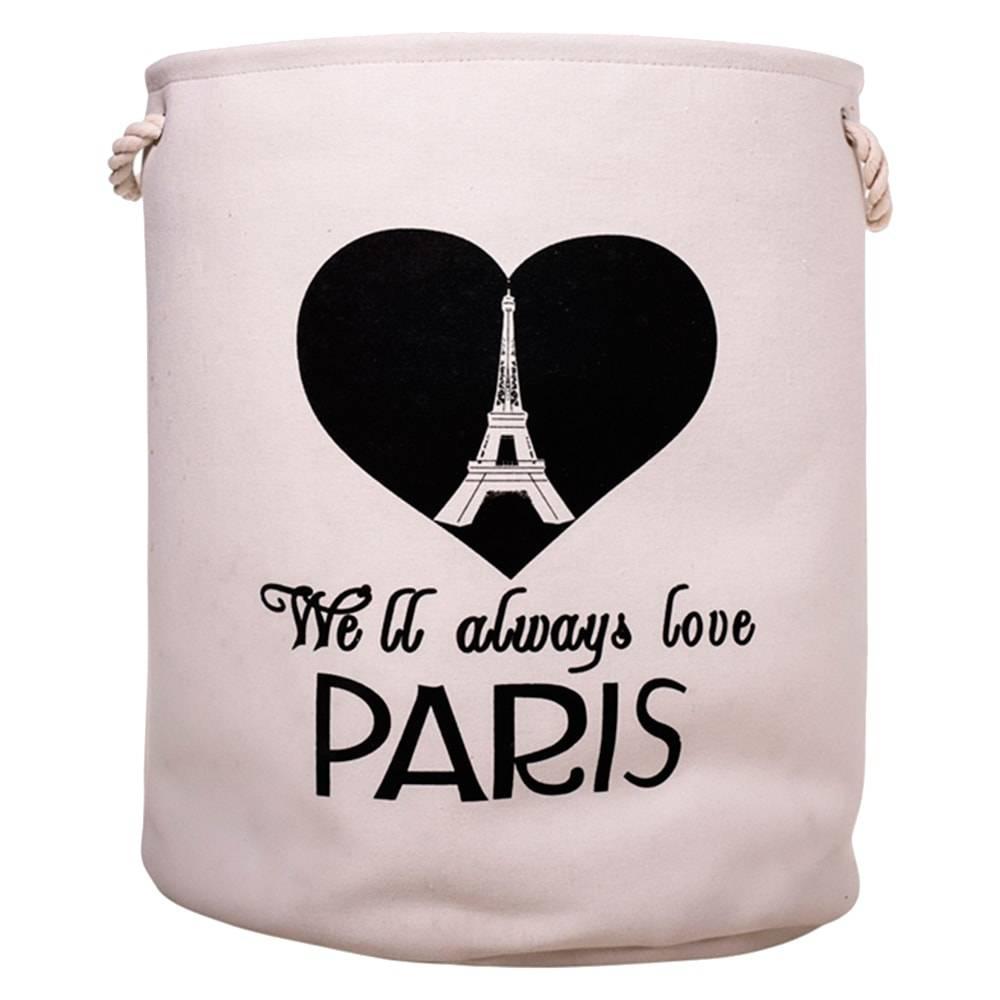 Cesto Organizador Love Paris Branco/Preto Redondo em Tecido - 52x40 cm