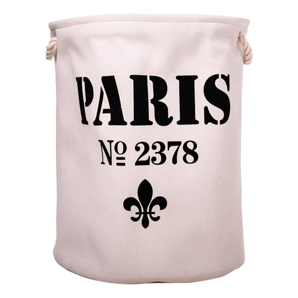 Cesto Organizador Paris Branco/Preto Redondo em Tecido - 52x40 cm