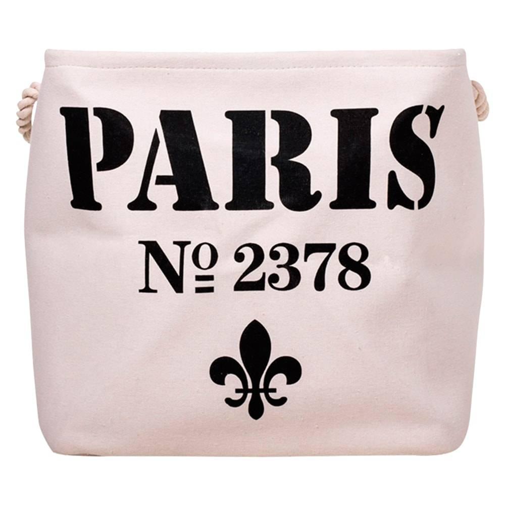 Cesto Organizador Paris Branco/Preto em Tecido - 38x38 cm