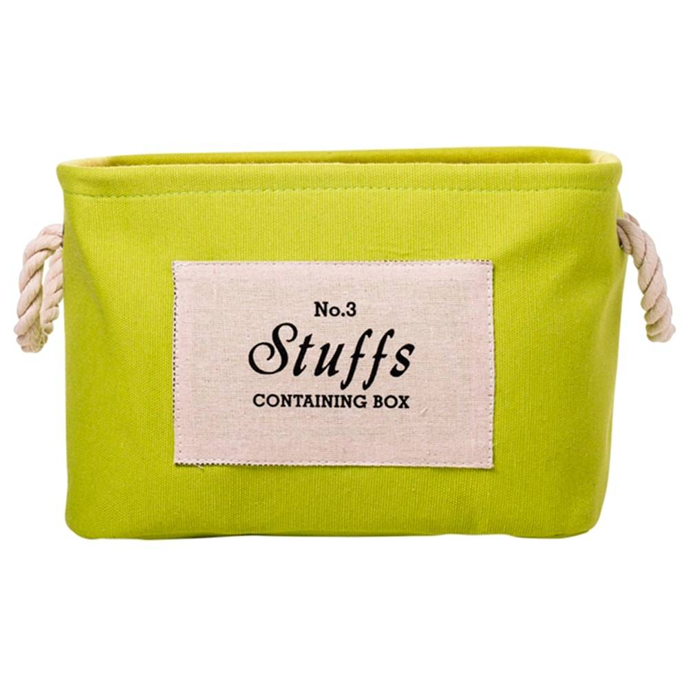Cesto Organizador Stuffs Verde Pequeno em Tecido -  30x22 cm