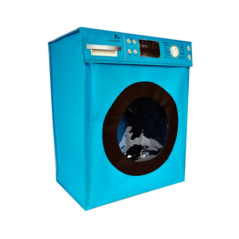 Cesto para Roupas Washing Machine Azul em Poliéster - Urban - 55x45 cm