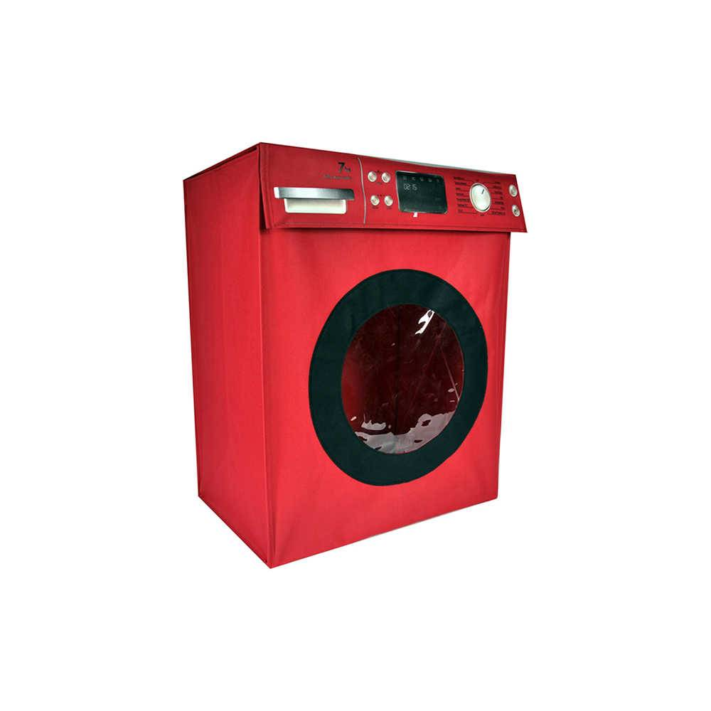 Cesto para Roupas Washing Machine Vermelho em Poliéster - Urban - 45x30 cm