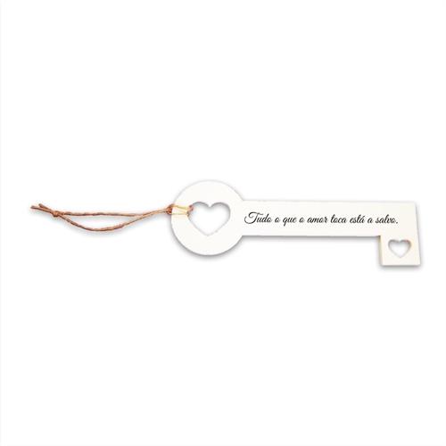 Chave Decorativa Amor Salvo em MDF - 26x8,8 cm