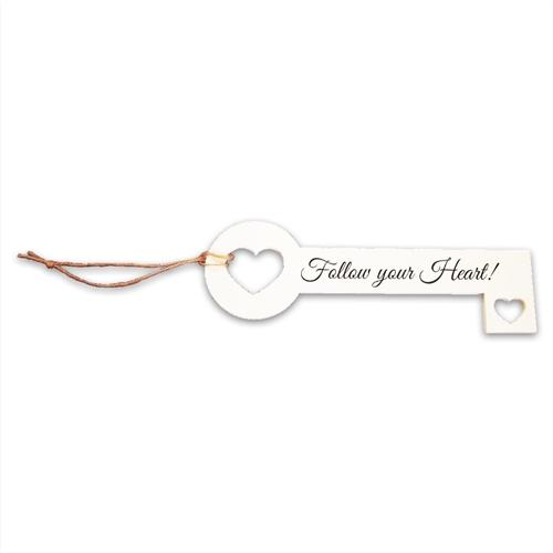 Chave Decorativa Heart Branca em MDF - 26x8,8 cm