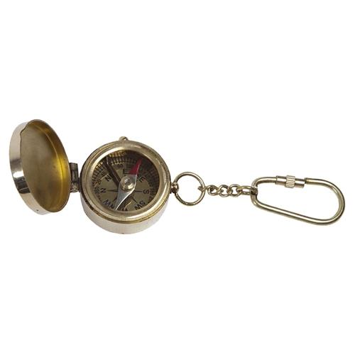 Chaveiro Bússola Dourada em Metal - 12x4 cm