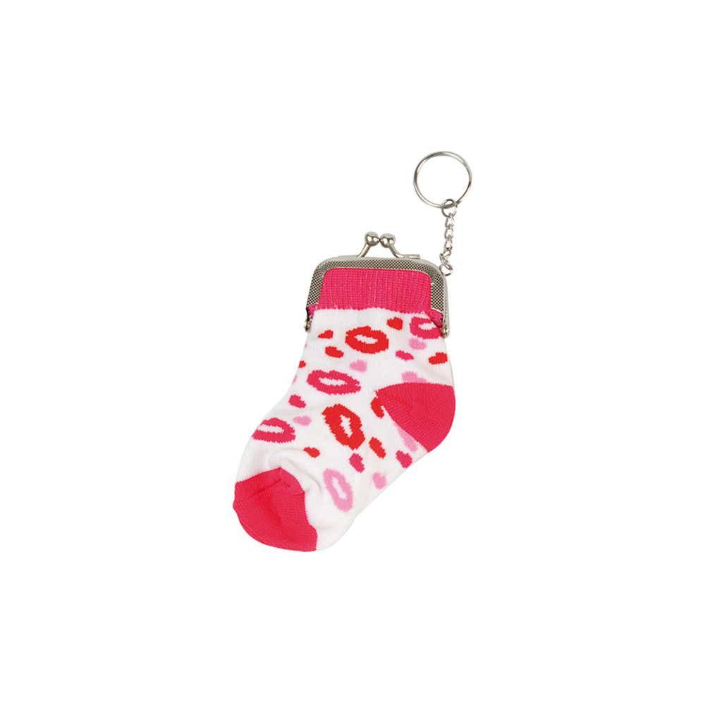 Chaveiro Porta Moedas Socks Pink Lips em Tecido e Metal - Urban - 13x6 cm