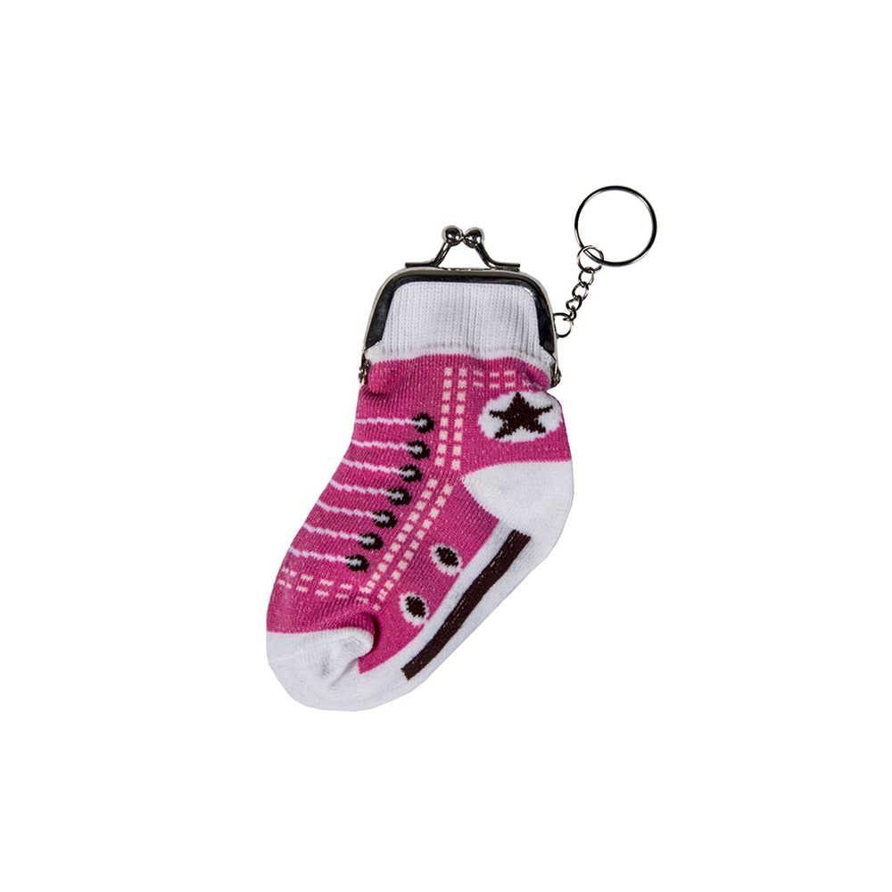 Chaveiro Porta Moedas Socks Pink Sneaker em Tecido e Metal - Urban - 13x6 cm