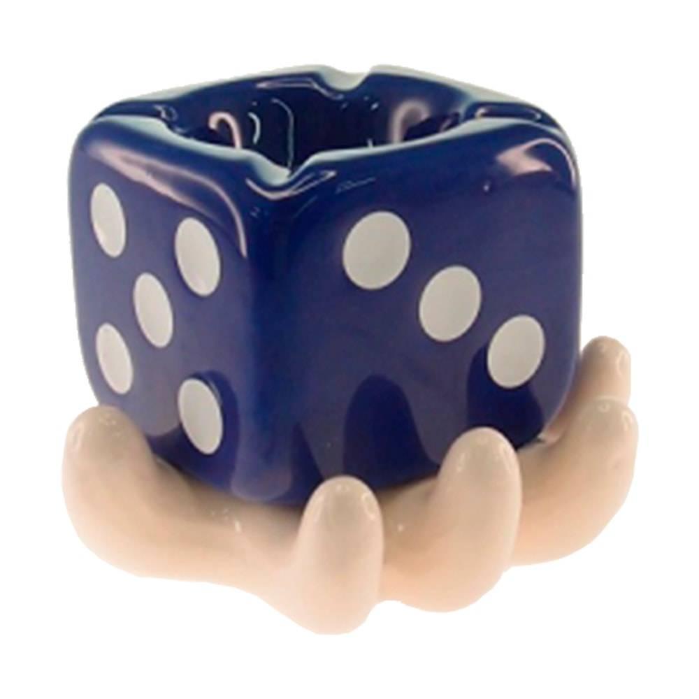 Cinzeiro Mão Branca e Dado Azul em Cerâmica - 13x10 cm