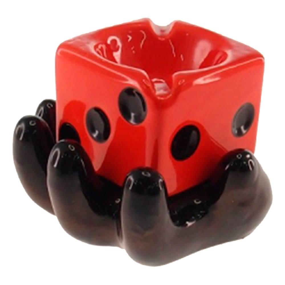 Cinzeiro Mão Preta e Dado Vermelho em Cerâmica - 13x10 cm