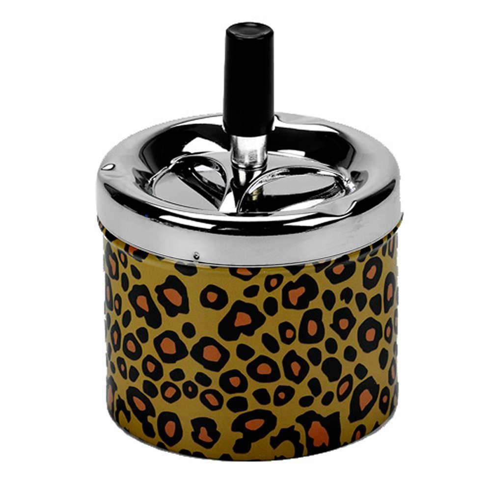 Cinzeiro Retrô Estampa Leopardo em Metal - Urban - 12x9 cm