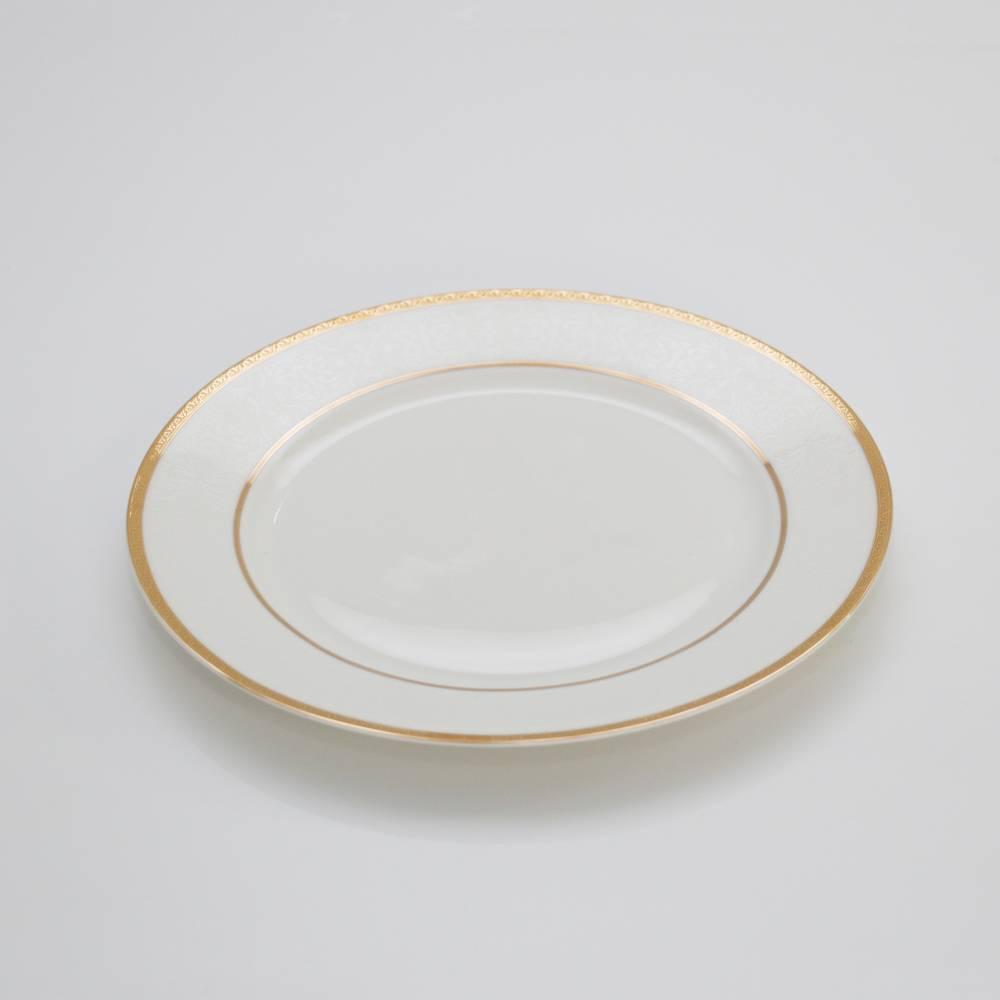 Conjunto 6 Pratos para Sobremesa em Porcelana c/ Relevo Branco/Dourado - Wolff - 20 cm
