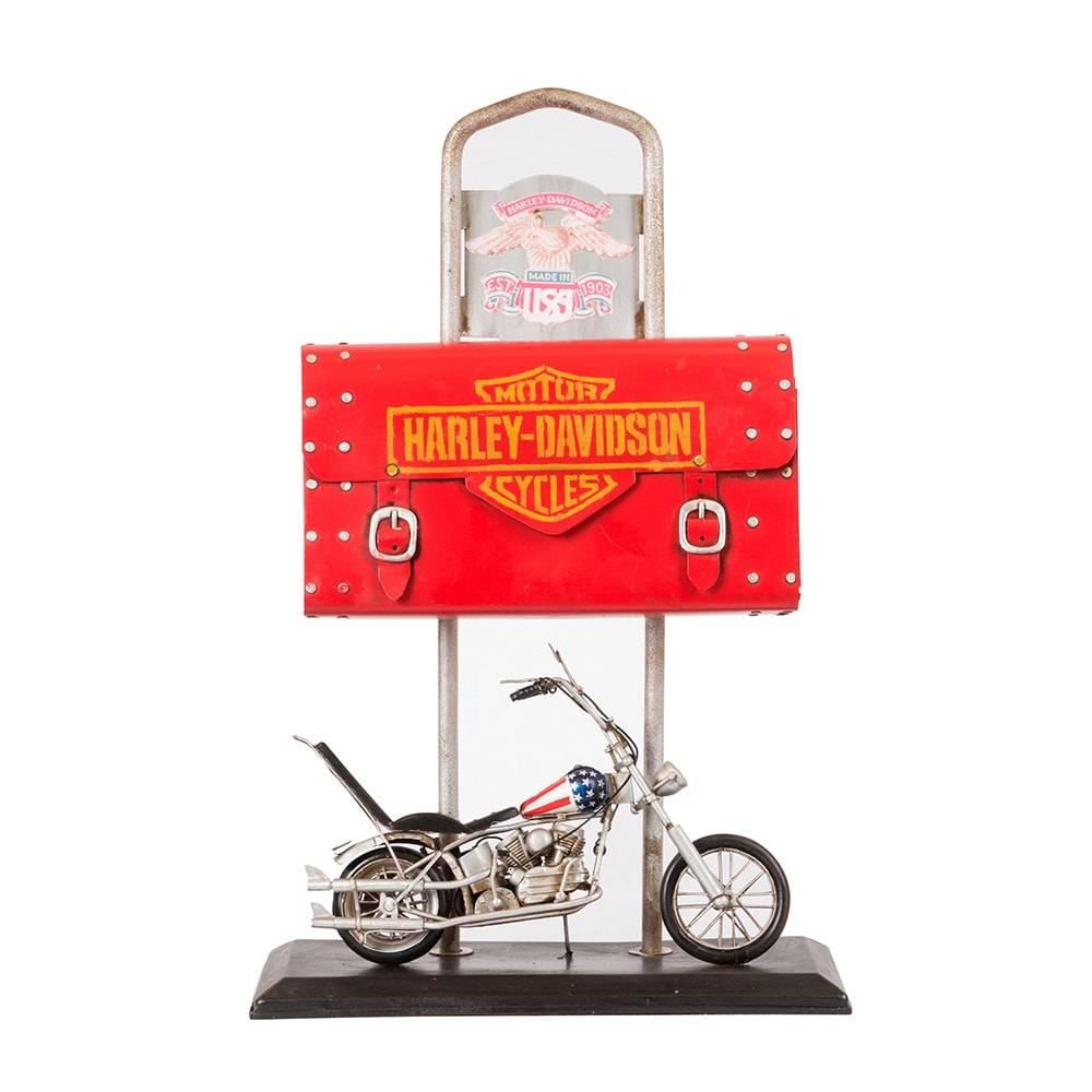 Cofre Bolsa com Miniatura Harley Davidson 1969 em Ferro - 47x30 cm