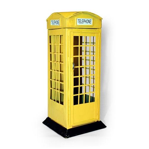 Cofre Cabine Telefônica Amarela Londres em Metal - 20x7 cm