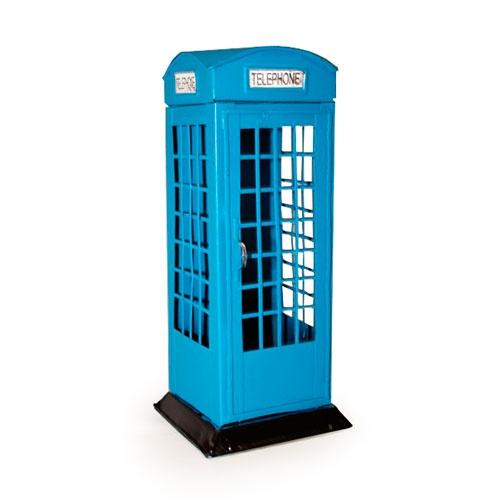 Cofre Cabine Telefônica Azul Londres em Metal - 20x7 cm