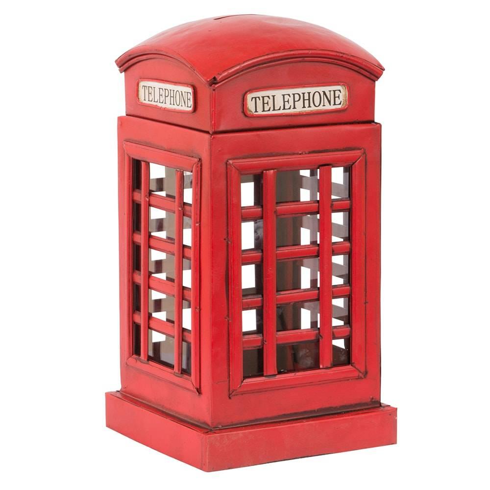 Cofre Cabine Telefônica Modelo Vintage Telephone Booth Vermelho em Ferro - 25x13 cm