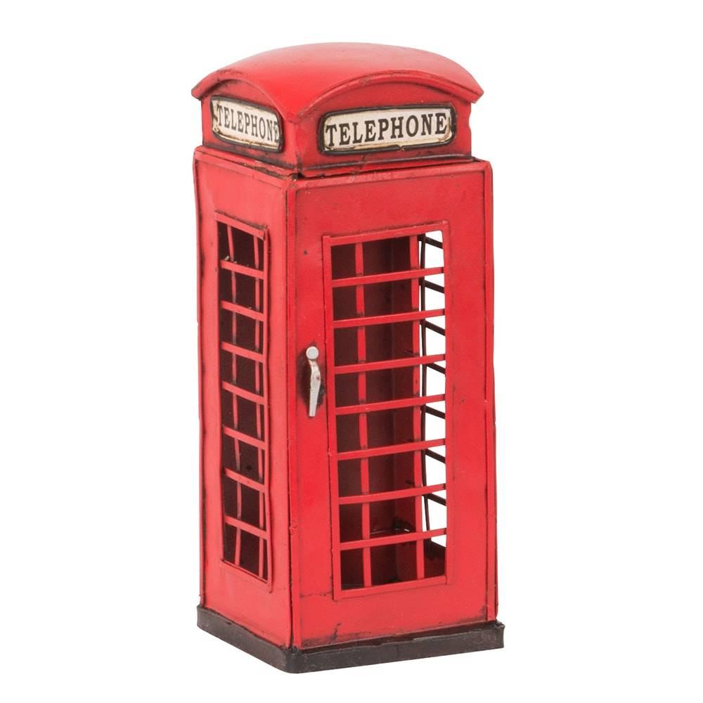 Cofre Cabine Telefônica Saving Bank Vermelha em Ferro - 16x6,5 cm