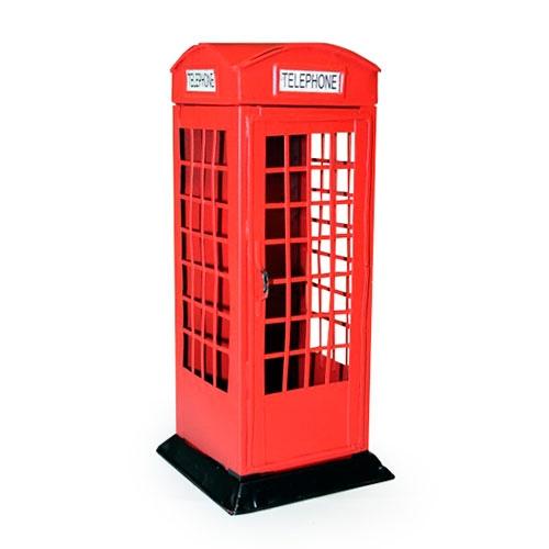 Cofre Cabine Telefônica Vermelha Londres em Metal - 20x7 cm