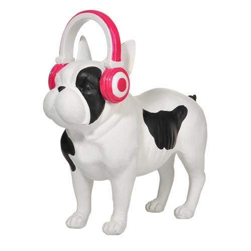 Cofre Cachorro em Pé Preto/Branco Médio em Cerâmica - 32x30 cm