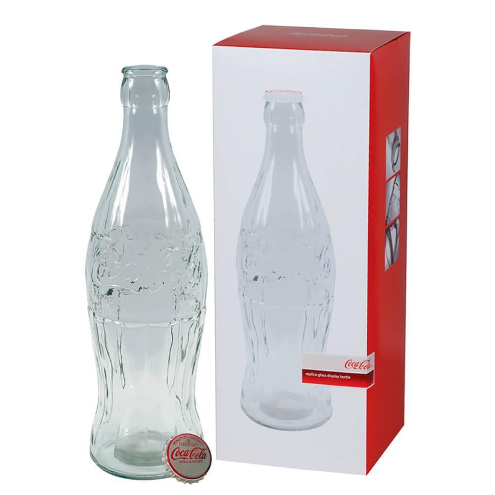 Cofre Coca-Cola Garrafa Contour 3D Grande Transparente em Vidro - Urban - 59x21,5 cm