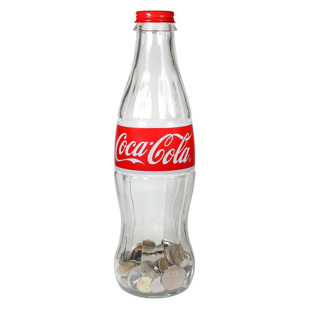 Cofre Coca-Cola Garrafa Contour 3D Pequeno Transparente em Vidro - Urban - 35x12 cm
