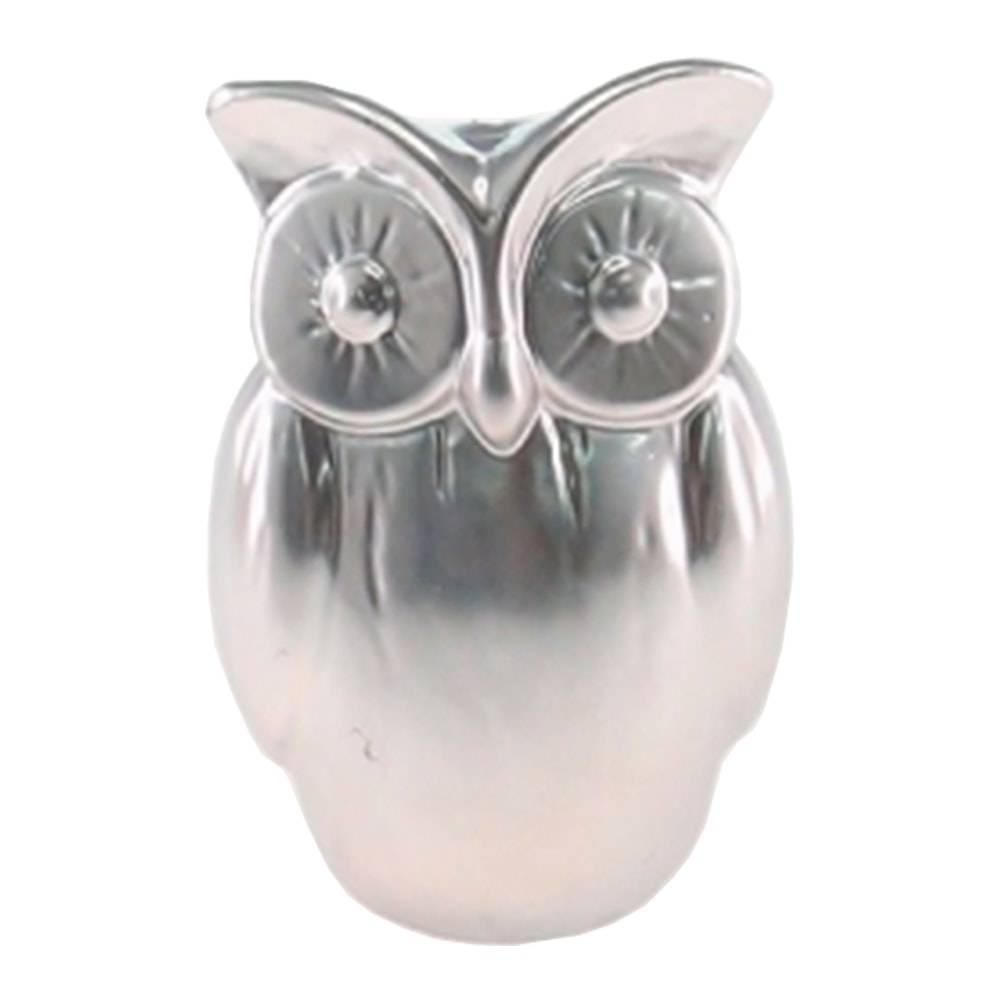 Cofre Coruja Prata de Olhos Grandes em Cerâmica - 15x10 cm