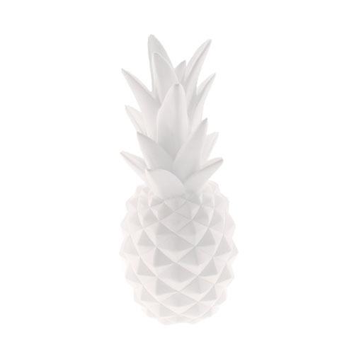 Cofre Decorativo Abacaxi Branco em Resina - 25x10 cm