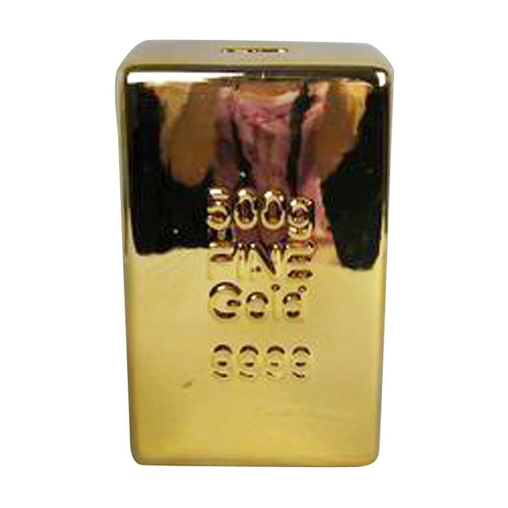 Cofre Decorativo Barra de Ouro Dourado em Cerâmica - Urban - 24x15 cm