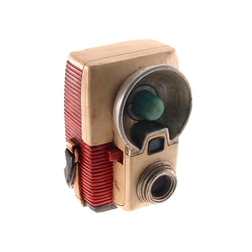 Cofre Decorativo Câmera Retrô Bege/Vermelho em Resina - 17x11 cm