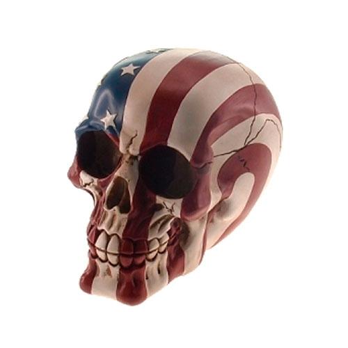 Cofre Decorativo Caveira Bandeira USA em Resina - 15x12 cm