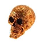 Cofre Decorativo Caveira Dourada com Pinos em Resina