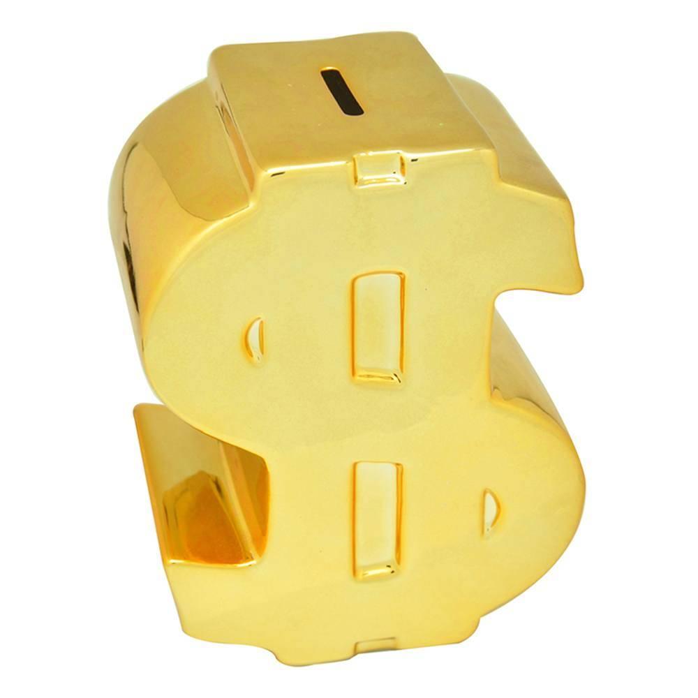 Cofre Decorativo Cifrão Dourado em Cerâmica - Urban - 16,5x12 cm