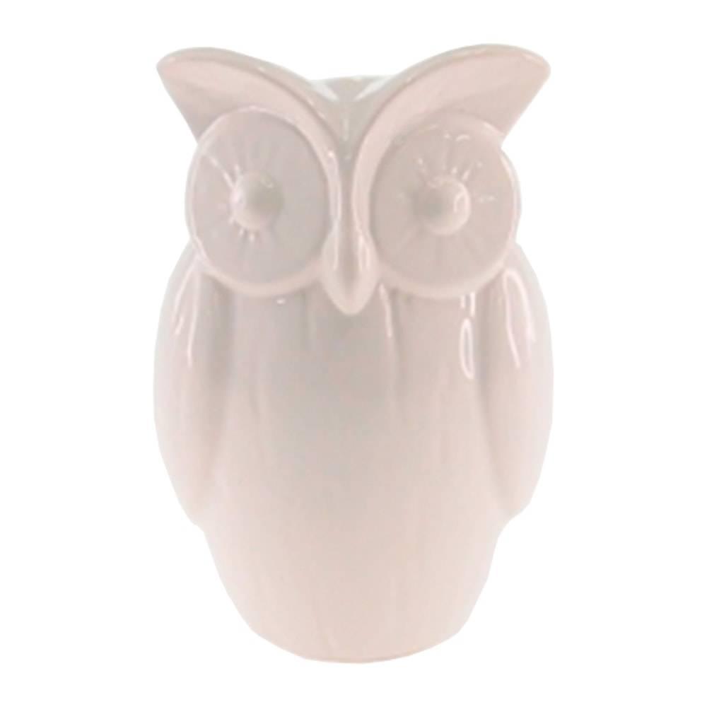 Cofre Decorativo Coruja Branca de Olhos Grandes em Cerâmica - 15x10 cm