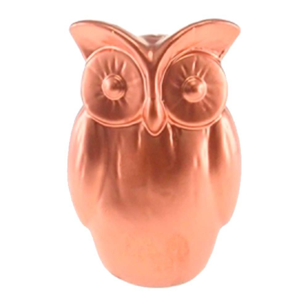 Cofre Decorativo Coruja Cobre de Olhos Grandes em Cerâmica - 15x10 cm
