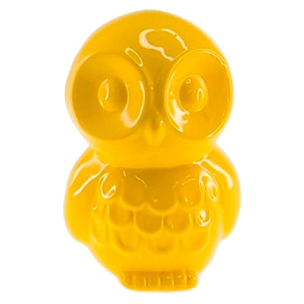 Cofre Decorativo Coruja Filhote Amarela em Cerâmica - 16x10 cm