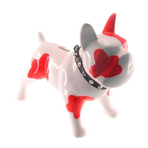 Cofre Decorativo Dog de Manchas Vermelhas em Cerâmica - 30x25 cm