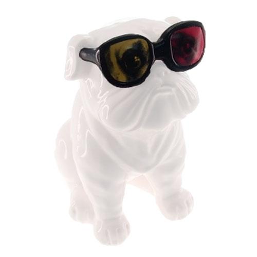 Cofre Decorativo Dog Óculos 3D em Cerâmica - 20x10 cm