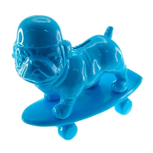 Cofre Decorativo Dog Skate Azul em Cerâmica - 20x13,5 cm