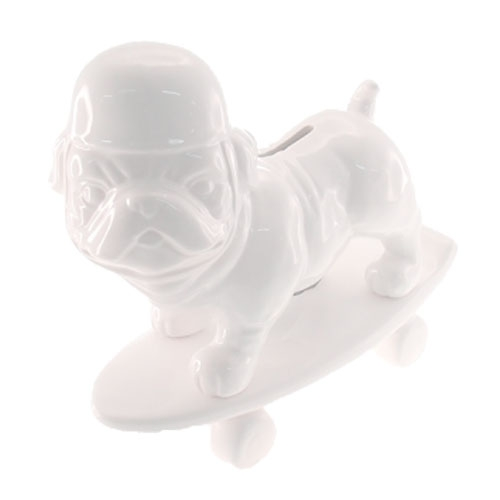 Cofre Decorativo Dog Skate Branco em Cerâmica - 20x13,5 cm