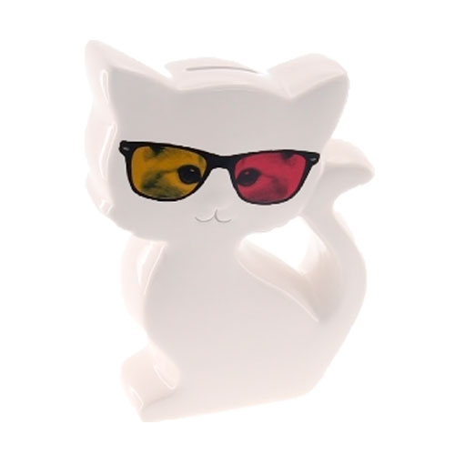 Cofre Decorativo Gato de Óculos 3D em Cerâmica - 20x13 cm